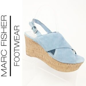 Marc Fisher Blue Suede Cross-band Cork Wedges 7